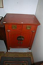 A CHINESE TWO DOOR TWO DRAWER LACQUERED CUPBOARD, 68 x 88 x 46