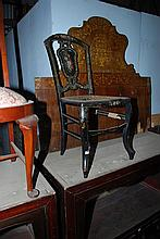 A QUANTITY OF THREE CHAIRS INCLUDING A MID VICTORIAN PAPIER MACHE LADY'S CHAIR (FAULTS)