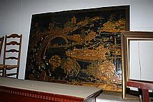 A CHINESE FOUR FOLD LACQUERED SCREEN
