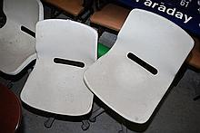 A QUANTITY OF SEVEN WHITE OFFICE CHAIRS