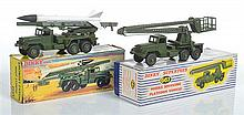 TWO DINKY MILITARY VEHICLES INCLUDING 667 MISSILE SERVICING PLATFORM VEHICLE; AND 665 HONEST JOHN MISSILE LAUNCHER
