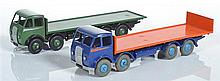 TWO UNBOXED DINKY FODEN COMMERCIALS INCLUDING 503 FLAT TRUCK WITH TAILBOARD, 2ND TYPE CAB, VIOLET BLUE CAB AND CHASSIS, ORANGE FLATB...