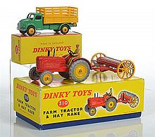DINKY 310 FARM TRACTOR AND HAY RAKE; AND 343 DODGE FARM PRODUCE WAGON, GREEN/YELLOW IN BOX WITH CORRECT COLOUR SPOT (E BOXES F-VG) (2)