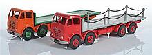 TWO UNBOXED DINKY FODEN COMMERCIALS, BOTH 2ND TYPE CAB INCLUDING 502 FLAT TRUCK, ORANGE CAB AND CHASSIS, MID-GREEN BACK AND HUBS; AN...