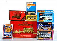 TWO MATCHBOX MODELS OF YESTERYEAR INCLUDING YS-16 1929 SCAMMELL 100 TON TRUCK TRAILER AND LOCOMOTIVE; AND Y-16 1923 SCANIA POST BUS;...