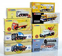 EIGHT CORGI CLASSIC COMMERCIALS INCLUDING 09601 BRS ERF 4 WHEEL PLATFORM LORRY WITH CANVAS; 10201 BRS ERF V TIPPER; 13902 FODEN S21 ...