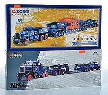 TWO CORGI CLASSICS HEAVY HAULAGE MODELS, 55201 PICKFORDS DIAMOND T BALLAST (X2) WITH 24 WHEEL GIRDER TRAILER & STEEL CASTING LOAD AN...
