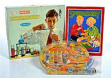 NODDY'S JOYRIDE BAGATELLE BY LOUIS MARX UK CIRCA 1960 (UNBOXED); SPIRALWAY GAME BY GLEVUM GAMES UK C1920/30S; MERIT CHEMISTRY SET CI..