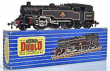HORNBY DUBLO EDL18 2-6-4 STANDARD TANK LOCO BR BLACK NO. 80054 (3 RAIL) COMPLETE WITH PACKING KEEPERS AND FACTORY GUARANTEE DATED 19...