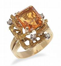 AN ABSTRACT CITRINE AND DIAMOND RING