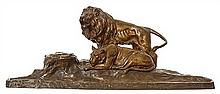 AN AUSTRIAN COLD PAINTED BRONZE GROUP FIGURAL INKWELL BY FRANZ KUCHARZYK, CIRCA 1910