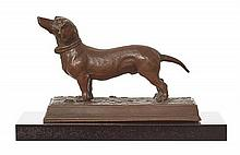 A BRONZE FIGURE OF A DACHSHUND, PROBABLY AUSTRIAN LATE 19TH EARLY 20TH CENTURY