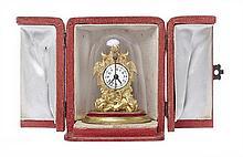 AN AUSTRIAN GILT BRONZE MINIATURE ZAPPLER GLASS DOME CLOCK, IN FITTED CASE, CIRCA 1880