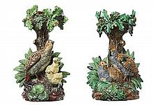 A RARE PAIR OF HUGO LONITZ MAJOLICA STANDS, SECOND HALF OF THE 19TH CENTURY, IMPRESSED MARKS, SHAPES 1203 AND 1204