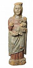 AN EARLY FRENCH POLYCHROME PAINTED MADONNA AND CHILD, POSSIBLY 13TH/14TH CENTURY