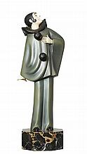 ROLAND PARIS (French 1894-1945) COLD PAINTED BRONZE AND PAINTED IVORY 'PAGLIACCI' CIRCA 1920