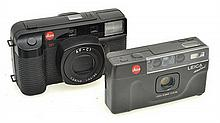 LEICA MINI NO. 18255320 WITH LEATHER CASE IN ORIGINAL PACKAGING WITH INSTRUCTIONS; AND LEICA AF-CI CAMERA NO. 333102071 IN LEATHER C...