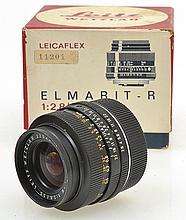 LEITZ ELMARIT R 2.8 35MM LENS NO. 2252885 IN ORIGINAL BOX, CONDITION: 5