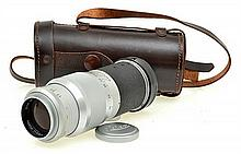 LEITZ HEKTOR 135MM 4.5 LENS NO. 1130519 IN LEATHER CASE WITH LENS CAP, CONDITION: 4