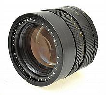 LEITZ SUMMICRON R 90MM LENS NO. 2401660,  IN LEATHER CASE, CONDITION: 4