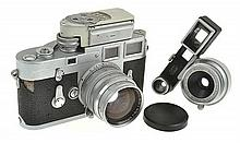 LEICA M3 NO. 874763 TWO STROKE (1957) WITH SUMMARIT 1.5 NO. 1433707 LENS (1956), LEICAMETER M AND ER CASE, CONDITION: 6