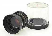 LEITZ SUMMICRON R 2.0 50MM LENS NO. 2323158 WITH SUNSHADE AND BUBBLE CONTAINER, CONDITION: 5
