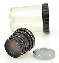 LEITZ SUMMICRON M 2.0 50MM LENS NO. 3408943 WITH LENS CAP AND BUBBLE CONTAINER, CONDITION: 5