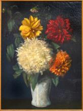 ARTIST UNKNOWN STILL LIFE WITH FLOWERS OIL ON CANVAS LAID ON BOARD, 59 X 44 CM