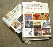 ALLAN MCCULLOCH ENCYCLOPAEDIA OF AUSTRALIAN ART VOLUME I & II (OVERALL WEAR AND TORN DUST JACKETS)