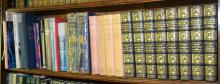 A SHELF OF REFERENCES INCLUDING UNIVERSAL HISTORY OF THE WORLD, A HISTORY OF AUSTRALIA, INTERNATIONAL FRENCH DICTIONARY AND OTHER VA...