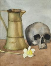SIGNED INDISTINCTLY INTERIOR STUDY WITH SKULL, JUG, AND ORCHID