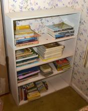 A WHITE PAINTED FOUR TIER BOOKCASE AND A COLLECTION OF ASSORTED ART REFERENCES AND LEONARD JOEL AUCTION CATALOGUES