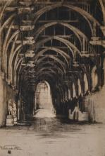 A. WILLIAMS WESTMINSTER HALL DRYPOINT ETCHING, SIGNED LOWER RIGHT AND DATED 1980 (SUBSTANTIAL LOSSES AND DISCOLOURING)
