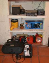 A STALKER IV CV RADIO, A SONY PORTABLE CD PLAYER WITH REMOTE CONTROL AND SEVEN MODERN TORCHES (AS FOUND)