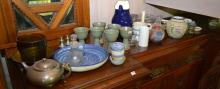 A COLLECTION OF STUDIO POTTERY AND GLASS