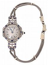 A LADIES ART DECO SAPPHIRE AND DIAMOND WRISTWATCH