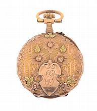 A LADIES OPEN-FACED GOLD POCKETWATCH