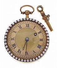 AN ANTIQUE MID-SIZED OPEN-FACED POCKETWATCH