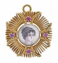 A MINIATURE PORTRAIT BROOCH