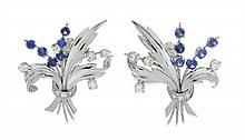 A PAIR OF SAPPHIRE AND DIAMOND COCKTAIL EARRINGS
