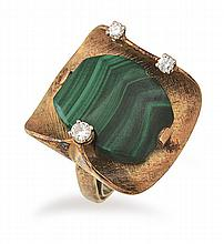 A MALACHITE AND DIAMOND COCKTAIL RING