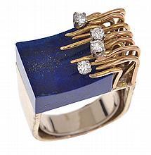 A LAPIS LAZULI AND DIAMOND COCKTAIL RING