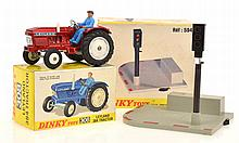 DINKY 308 LEYLAND 384 TRACTOR, METALLIC RED; AND