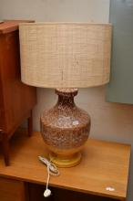 A PAIR OF 1960'S TEAK AND METAL STAR DOWNLIGHTS AND A  LAVA GLAZED CERAMIC LAMP (A/F)