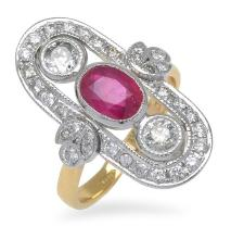 AN ART DECO STYLE RUBY AND DIAMOND PLAQUE RING