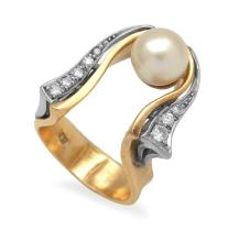 A CULTURED PEARL AND DIAMOND COCKTAIL RING