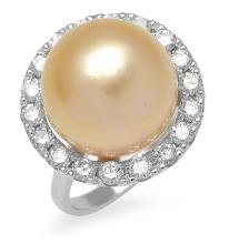 A GOLDEN SOUTH SEA PEARL AND DIAMOND RING