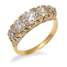 A VICTORIAN STYLE FIVE STONE DIAMOND RING