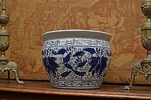 A SUBSTANTIAL CHINESE BLUE AND WHITE JARDINIERE