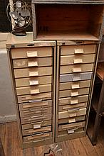 A PAIR OF INDUSTRIAL TEN DRAWER FILING CABINETS (DRAWERS HAVE NO SIDES)